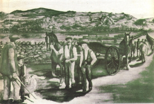Engraving of the carts at the scene
